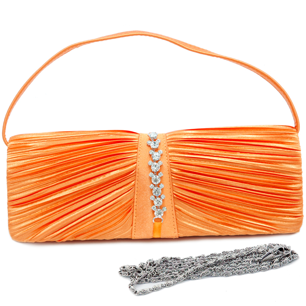 Pleated Front Evening Bag with Mid Rhinestone Trim