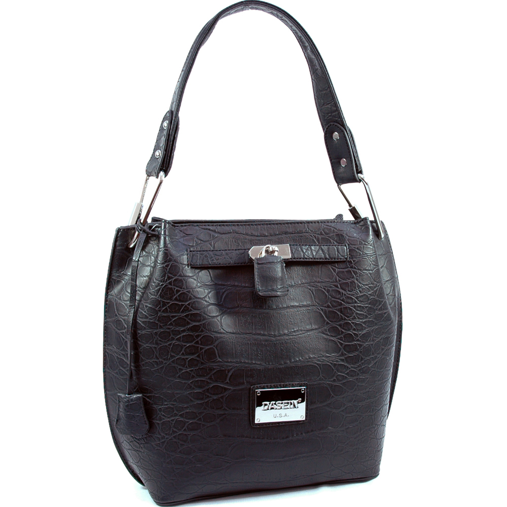 Dasein designer inspired hobo bag w/ croco texture embossed material