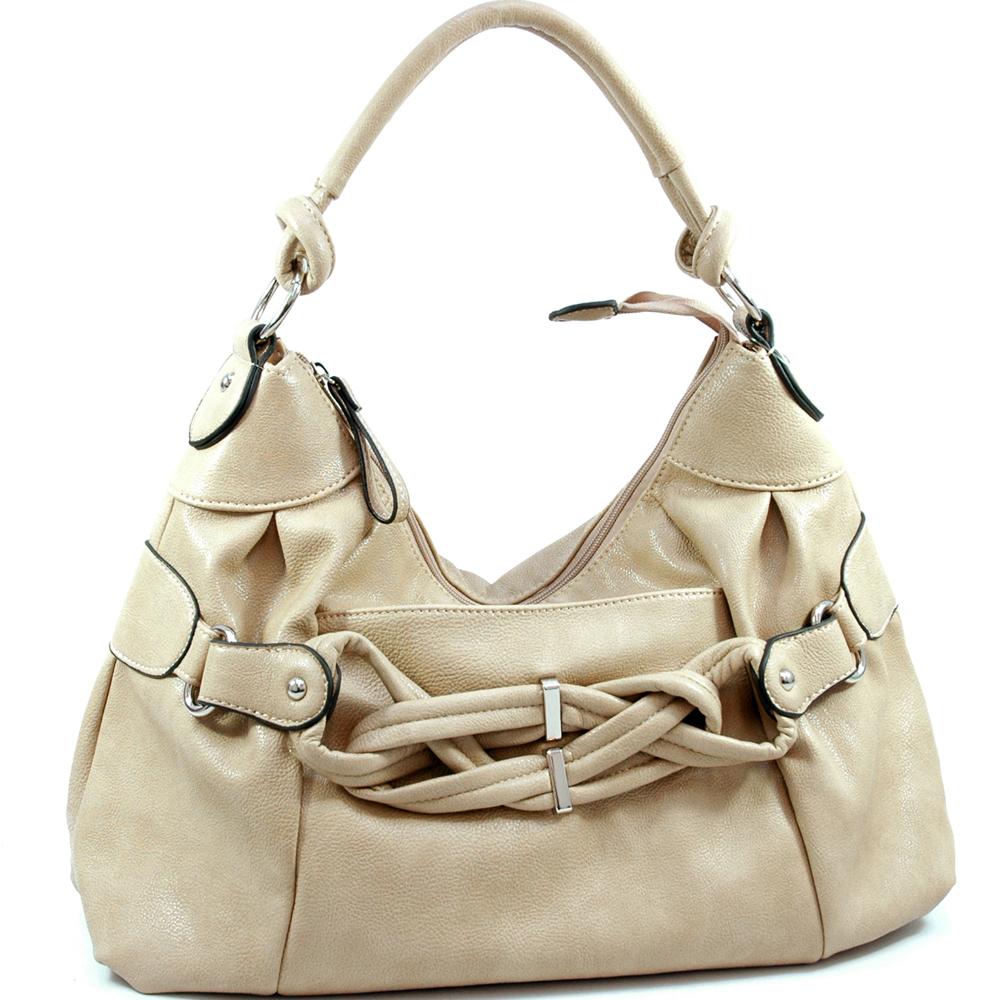 Dasein designer inspired breaded hobo bag with front pocket