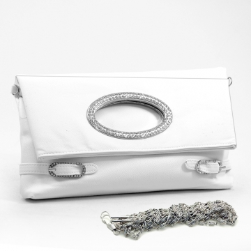 Dasein foldable rhinestone clutch with front ring & buckle