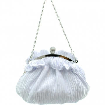 Dasein Ruffled Evening Bag with Rhinestone Accent-White