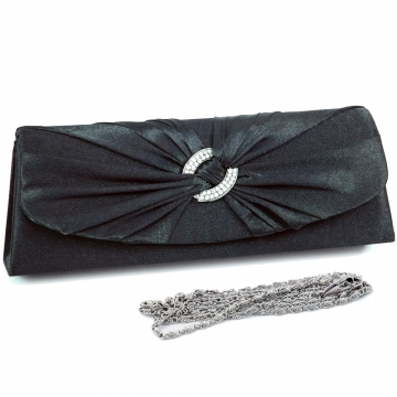 Evening bag w/ rhinestone ring accented flap for women Black