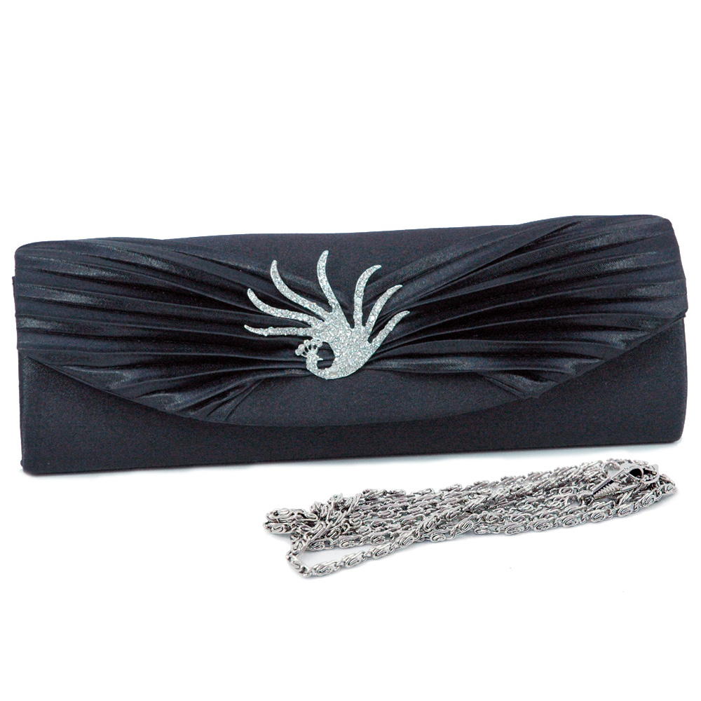 Rhinestone Peacock Brooch Pleated Clutch