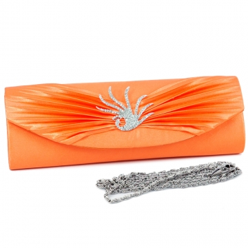 Pleated flap evening bag w/ rhinestone peacock brooch