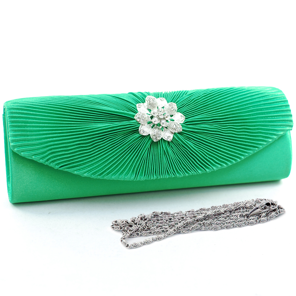 Floral Rhinestone Brooch Pleated Clutch