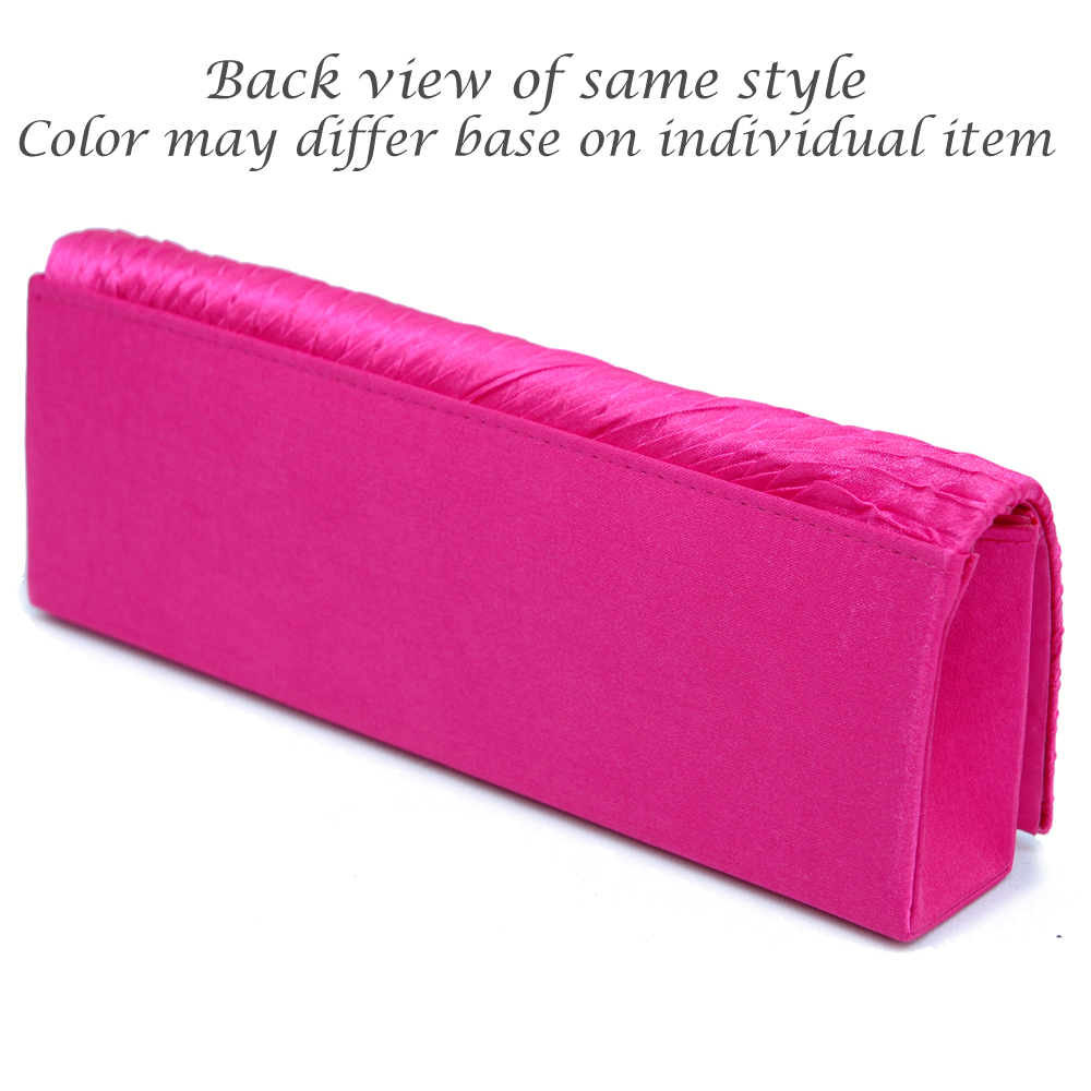 Butterfly Accented Pleated Satin Clutch