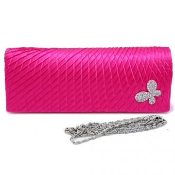 Satin over front clutch with diagonal pleats and rhinestone butterfly