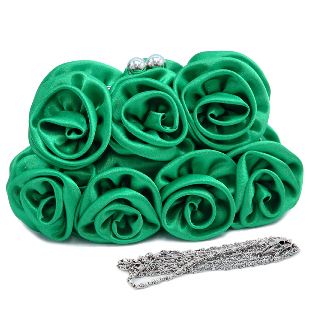 Satin kiss lock clutch with rosettes