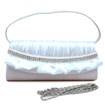 Pleated satin over front clutch with rhinestone and ruffle trim
