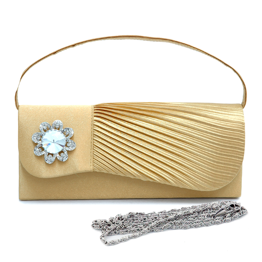 Pleated Asymmetric Evening Bag with Rhinestone Flower