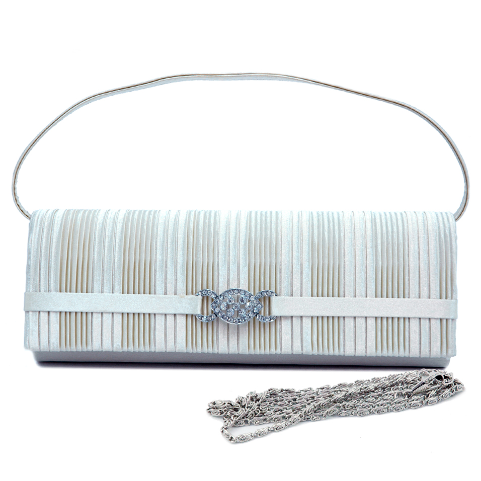 Straight Pleated Evening Bag with Rhinestone Jewel