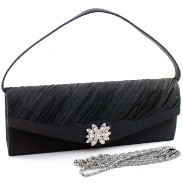 Dasein Elegant Pleated Evening Bag Clutch with Rhinestone Flower Brooch-Black