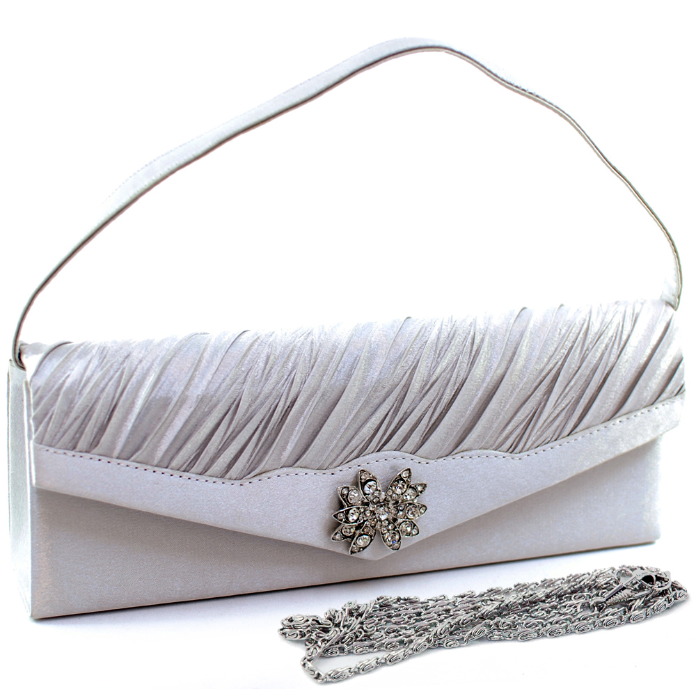 Pleated Front Rhinestone Jewel Evening Bag