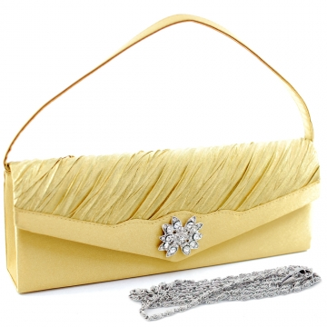 Dasein Elegant Pleated Evening Bag Clutch with Rhinestone Flower Brooch-Gold