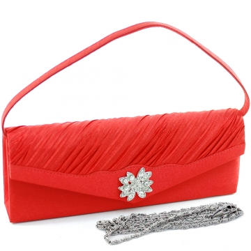 Dasein Elegant Pleated Evening Bag Clutch with Rhinestone Flower Brooch-Red