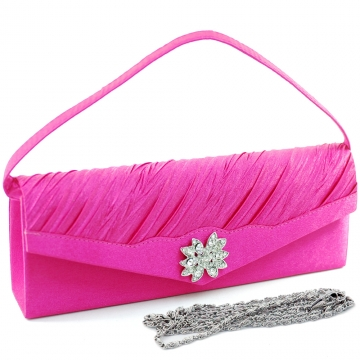 Dasein Elegant Pleated Evening Bag Clutch with Rhinestone Flower Brooch-Hot Pink
