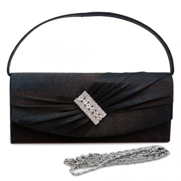 Pleated satin clutch with centered rhinestone accent