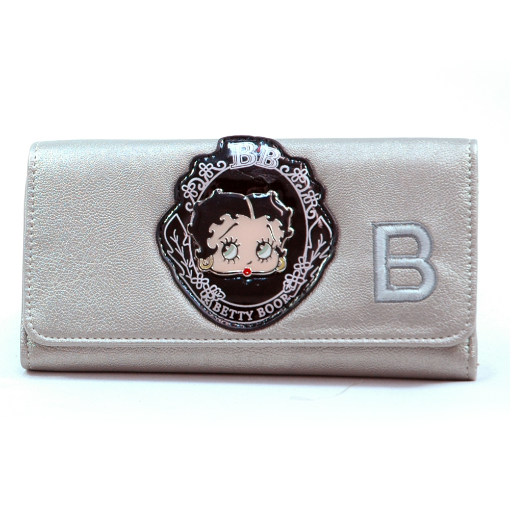 Betty Boop® Metal Head Checkbook Wallet-Pewter