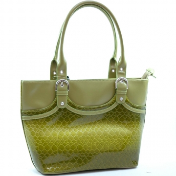 Snake skin embossed tote bag