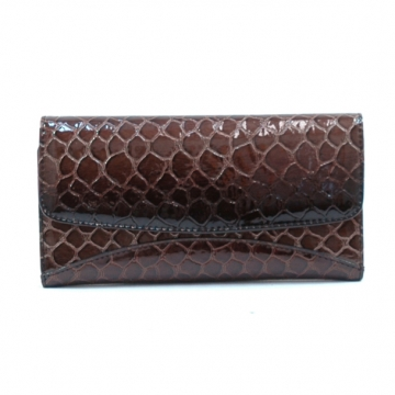 Vani Snake Skin Embossed &  Fold Over Checkbook Wallet-Black / Brown