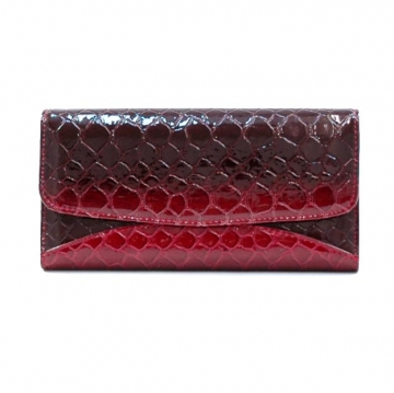Vani Snake Skin Embossed &  Fold Over Checkbook Wallet-Red