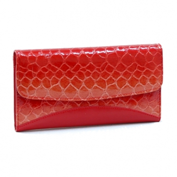Vani Snake Skin Embossed &  Fold Over Checkbook Wallet-Blossom Red
