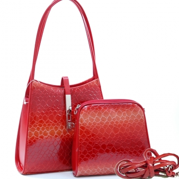 Dasein Cute Patent Leatherette Snake Skin Embossed 2-in-1 Shoulder Bag-Blossom Red