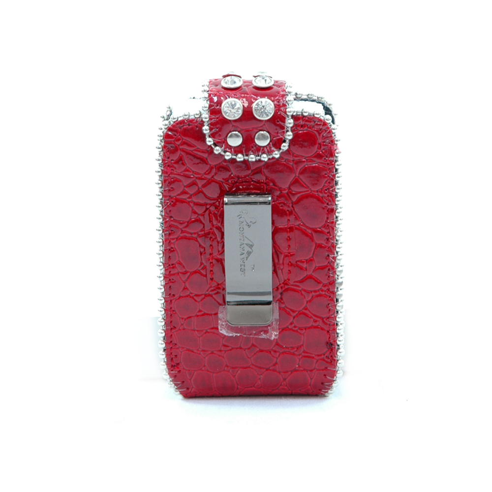 Montana West Fashion Rhinestone Croco Cellphone / iPod / iPhone Holder / Wallet-Red