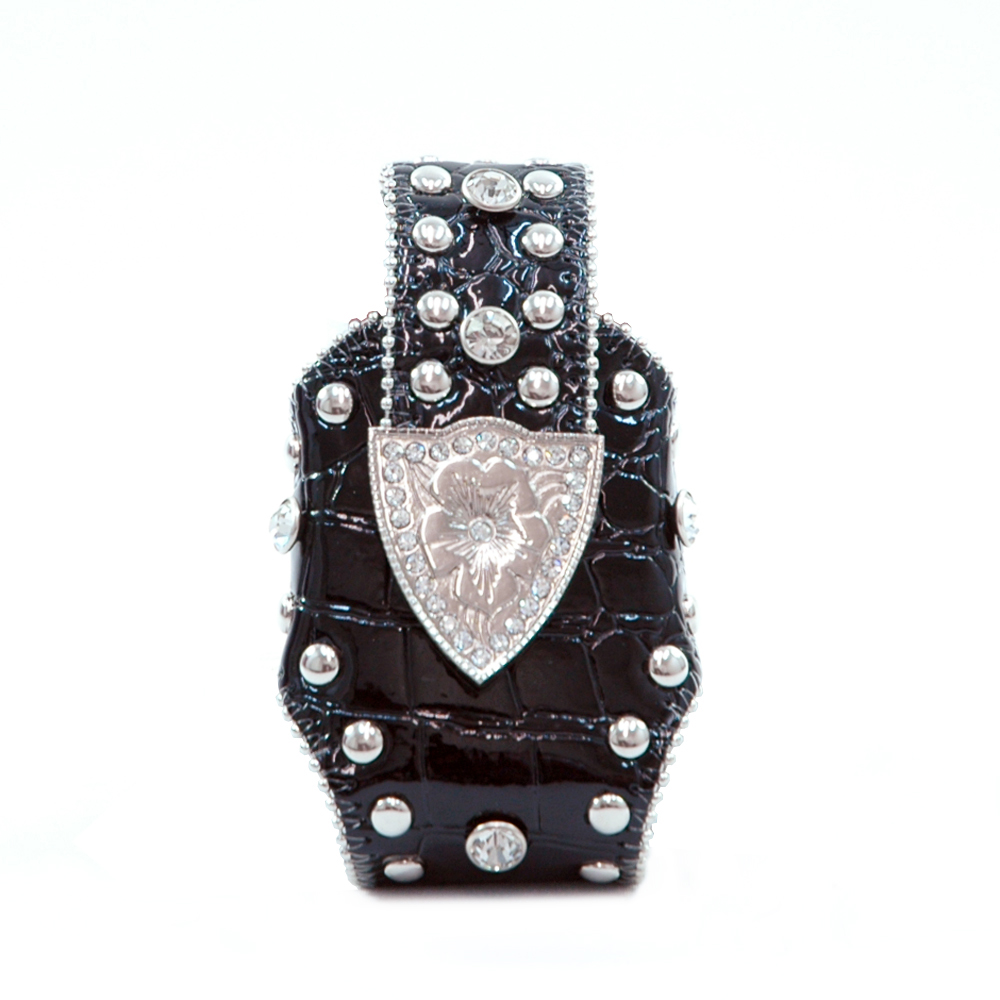 Montana West Cute Rhinestone Croco Cellphone / iPod / iPhone Holder / Wallet-Black