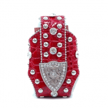 Montana West Cute Rhinestone Croco Cellphone / iPod / iPhone Holder / Wallet-Red