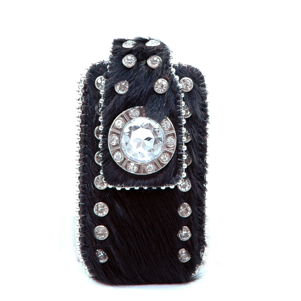 Fashion Genuine Leather Cowhide with Rhinestone Decoration Cellphone / iPod / iPhone Holder-Black
