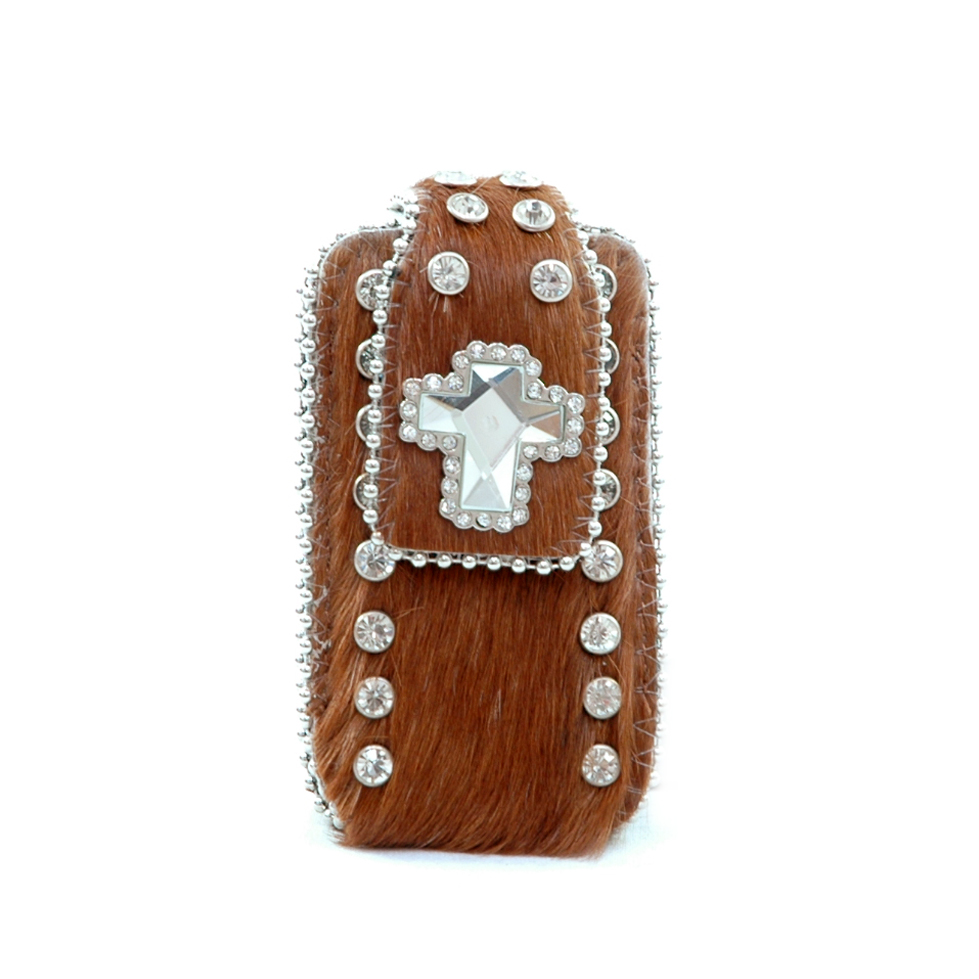 Genuine Leather Cowhide with Rhinestone Accent Cellphone / iPod / iPhone Holder-Brown
