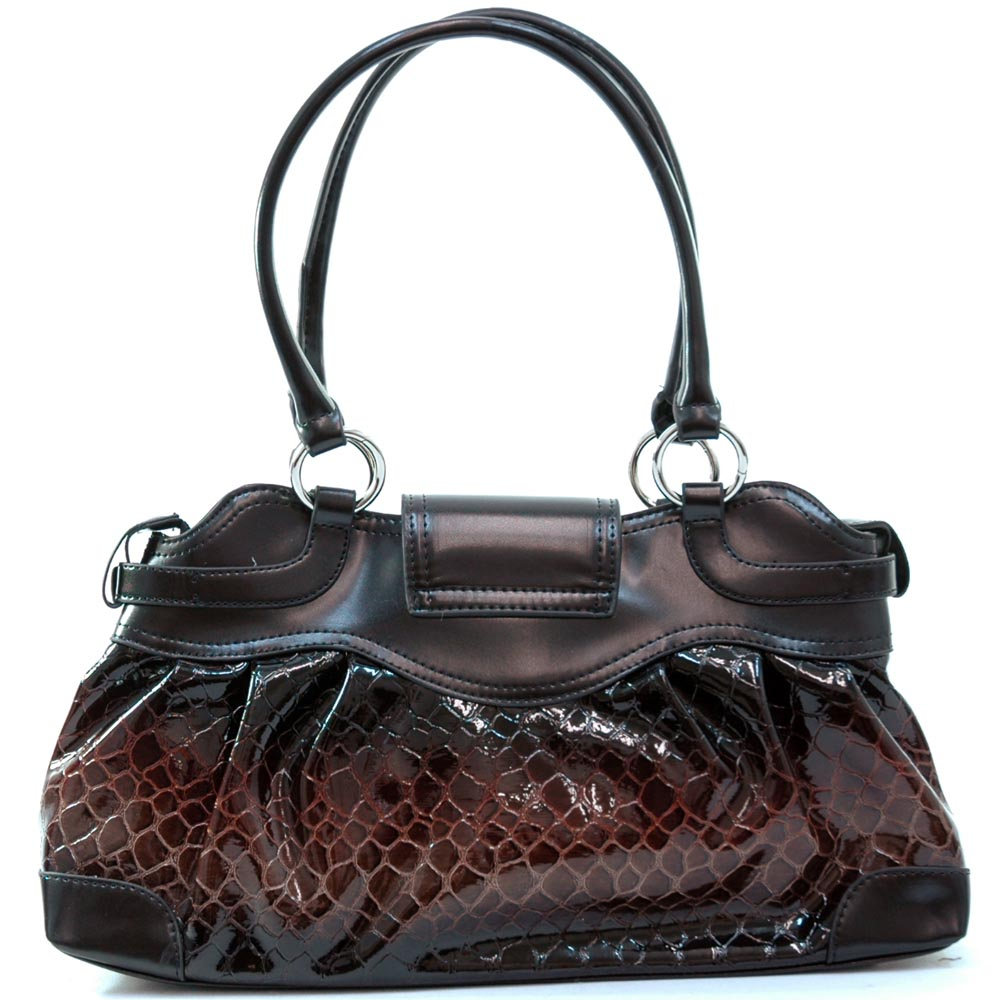 Croco embossed shiny shoulder bag handbag red