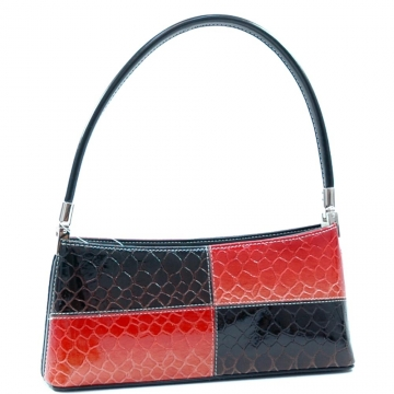 Vani Desinger Inspired Patent Leatherette Shoulder Bag-Black / Blossom Red