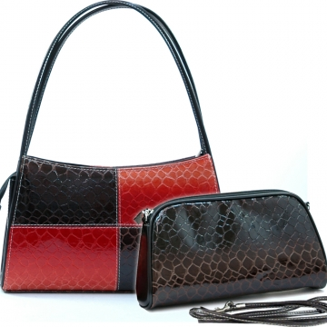 Vani Patent Leatherette Snake Skin Embossed 2-in-1 Shoulder Bag-Black / Blossom Red