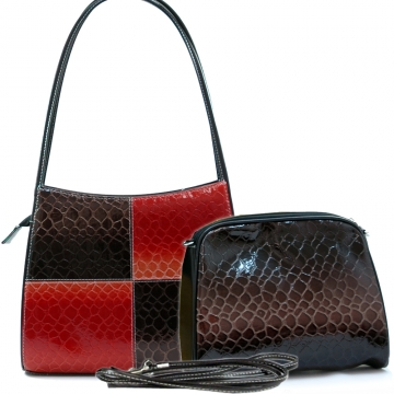 Dasein Patent Leatherette Snake Skin Embossed 2-in-1 Shoulder Bag-Black / Blossom Red