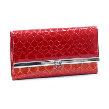 Dasein Snake Skin Embossed Fold Over Flap with Flip Clasp Checkbook Wallet-Blossom Red