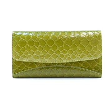 Vani Snake Skin Embossed &  Fold Over Checkbook Wallet-Lt. Green