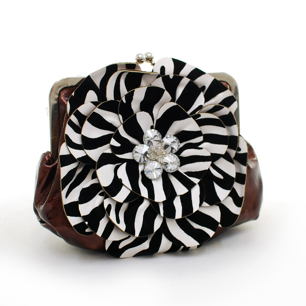 Montana West Rustic Couture Zebra Flower Clutch - Coffee