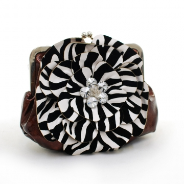 Montana West Rustic Couture Zebra Flower Clutch with Kiss Lock Opening-Coffee
