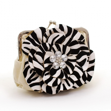 Montana West Rustic Couture Zebra Flower Clutch with Kiss Lock Opening-Tan