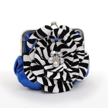 Montana West Rustic Couture Zebra Flower Clutch with Kiss Lock Opening-Blue