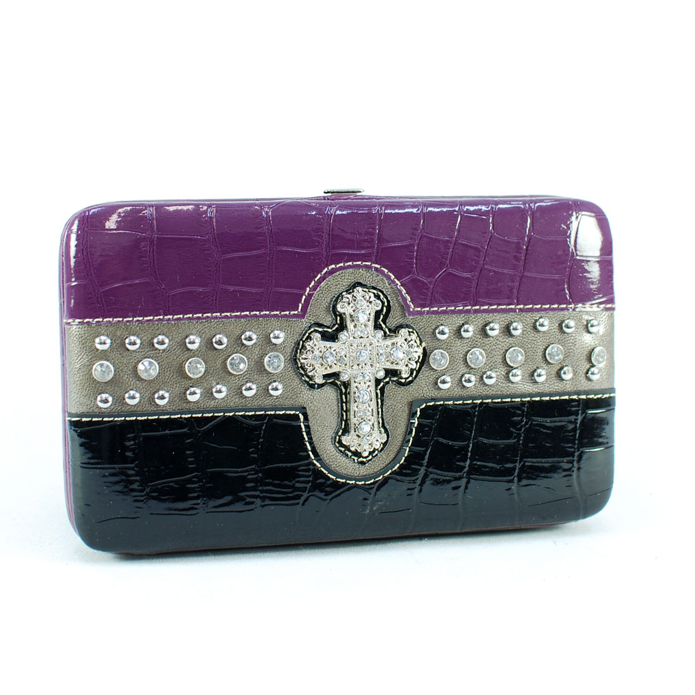 Striped Frame checkbook wallet with studs and rhinestones