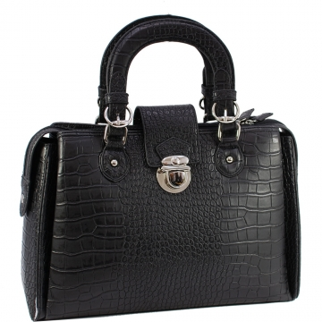 Dasein Designer Inspired Satchel Bag with Trendy Croco  Embossed Accent-Black