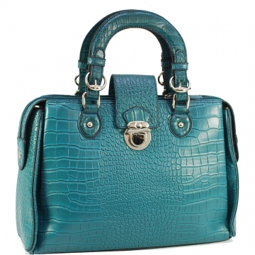 Dasein Designer Inspired Satchel Bag with Trendy Croco  Embossed Accent-Blue