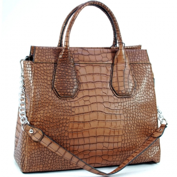 Dasein Trendy Designer Precious Satchel Bag with Metal Accent Shoulder Strap-Brown