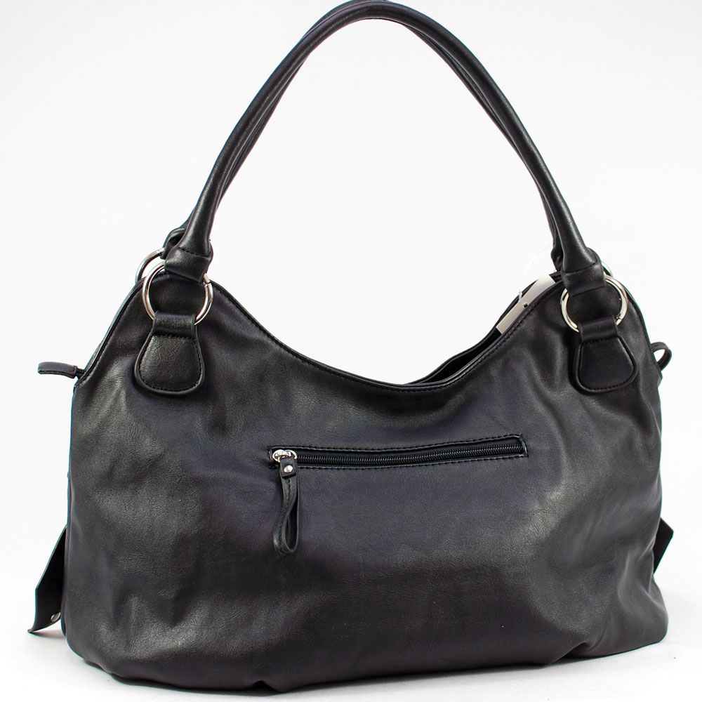 Dasein Shoulder Bag with Front Layer Decoration-Black