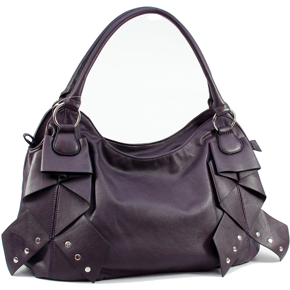 Dasein Shoulder Bag with Front Layer Decoration-Purple
