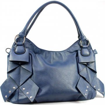 Dasein Shoulder Bag with Front Layer Decoration-Navy Blue