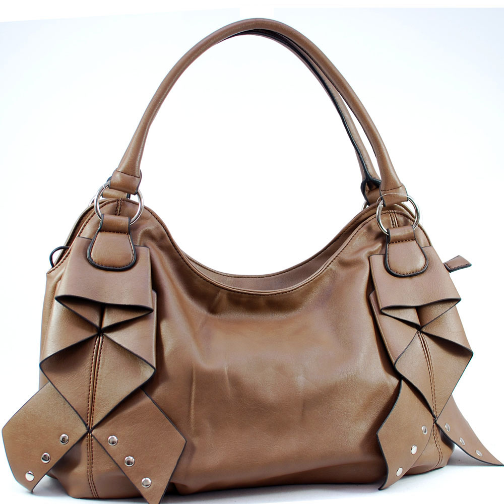 Dasein Shoulder Bag with Front Layer Decoration-Brown